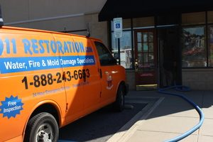 Water Damage Van At Commercial Job Site
