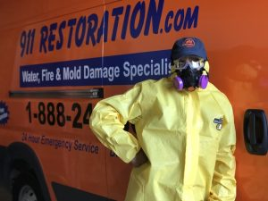 A Water Cleanup Technician at 911 Restoration of Kansas City Headquarters